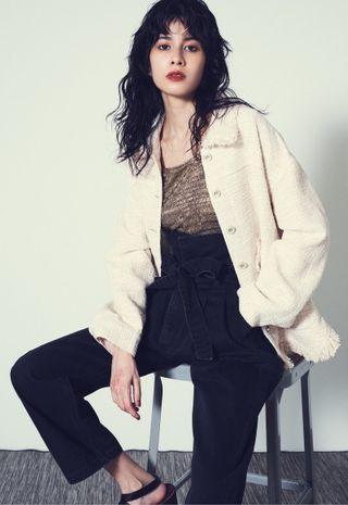 [二手|免運]日本正品 Lily Brown 黑灰超高腰綁帶牛仔褲