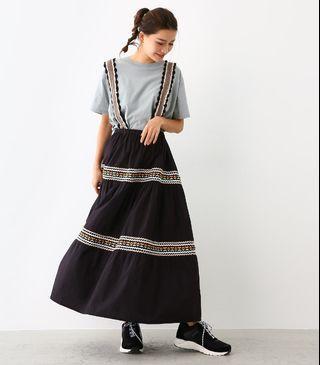 [二手|免運]日本正品 Rodeo Crowns Wide Bowl 民族風刺繡圖騰吊帶裙