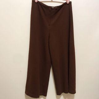 咖啡色毛料長寬褲