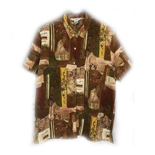 美國帶回♨️棕色經典花襯衫♨️古著 復古 古着