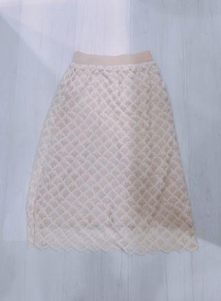 [未使用|免運]正韓 雙層蕾絲中長裙