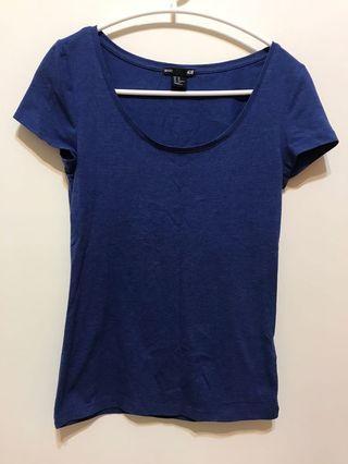 H&M藍色短袖上衣