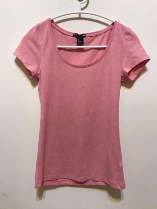 H&M粉色短袖上衣