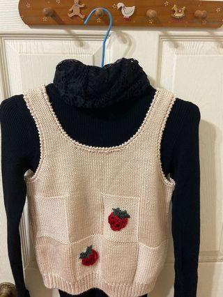 正韓 草莓可愛針織背心