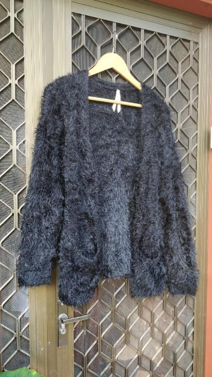 ALLYFASHION Black Fluffy Cardigan Meshki Missguided Fashion Nova Asos Misspap