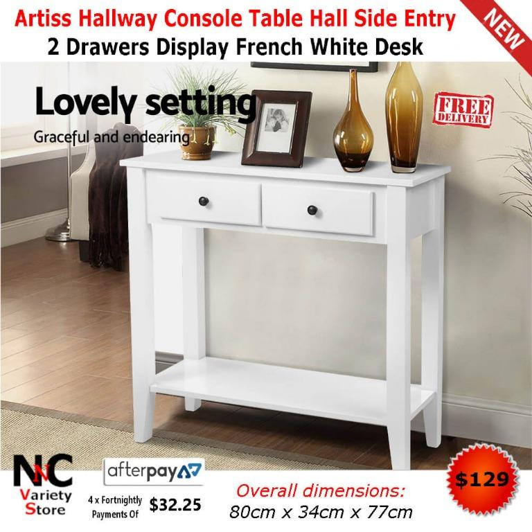 Artiss Hallway Console Table Hall Side Entry 2 Drawers Display French White Desk