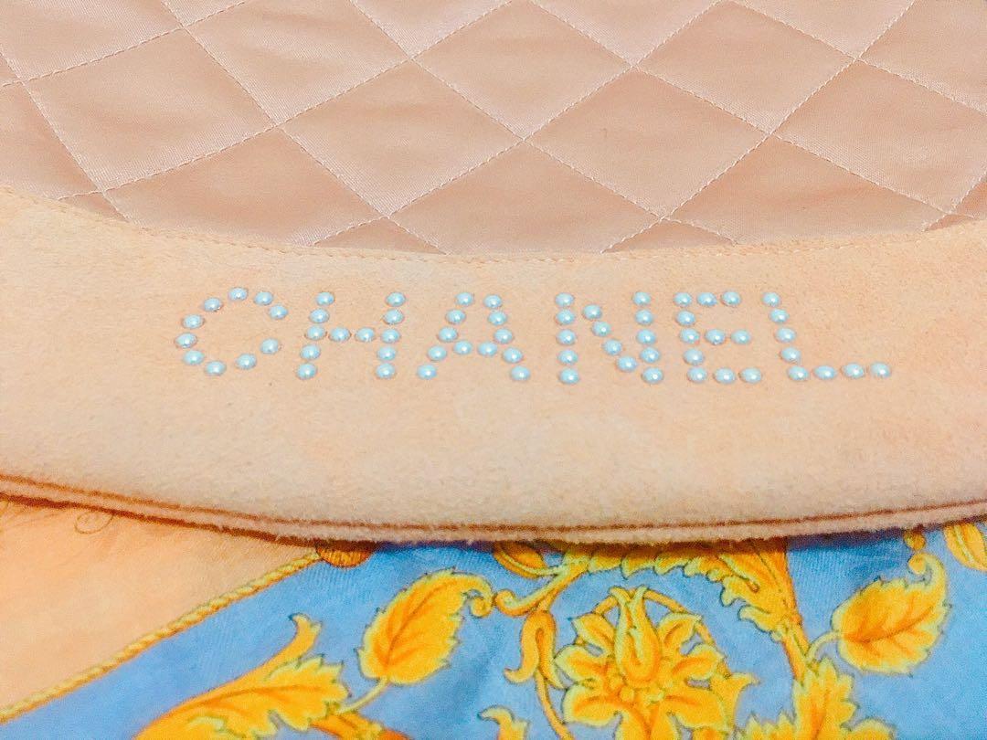 Authentic Vintage Chanel Backpack Champagne pink Handbag bucket bag not Fendi LV Loewe Dior Versace pastel