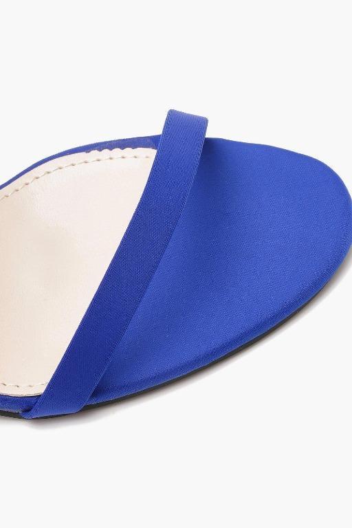 BOOHOO Ava Skinny Block Wrap Strap Heel Cobalt Blue Missguided PrettyLittleThing