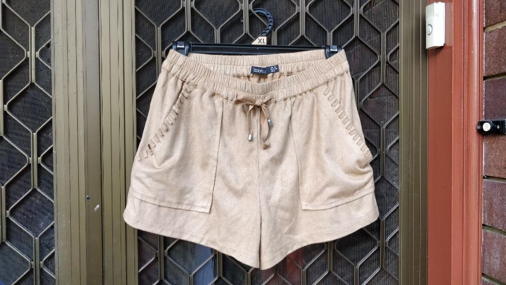 BOOHOO Suede Brown Shorts Braided Pocket Detail Paperbag Waist Missguided