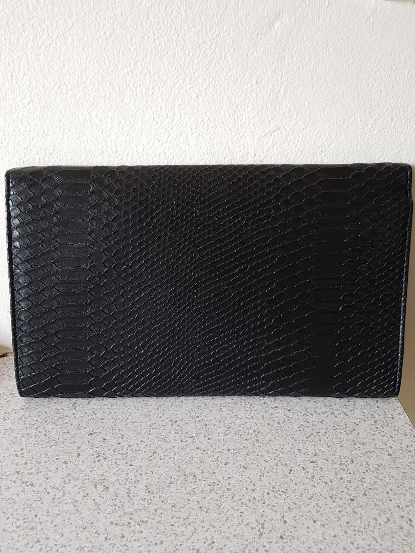 Colette black faux snake skin oversized envelope clutch