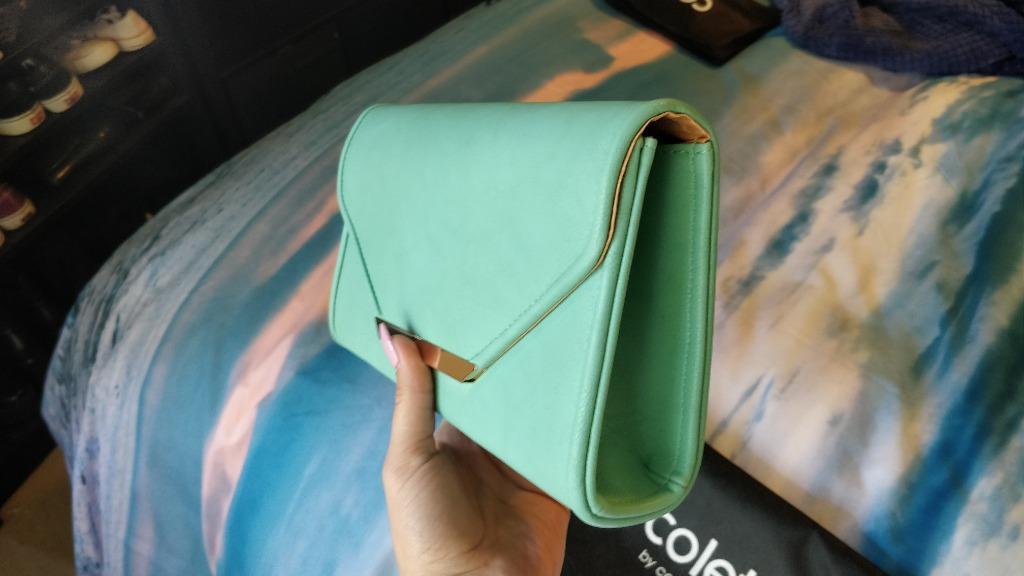 COLETTE BY COLETTE HAYMAN Turquoise Clutch Bag Blue Green Gold Handbag