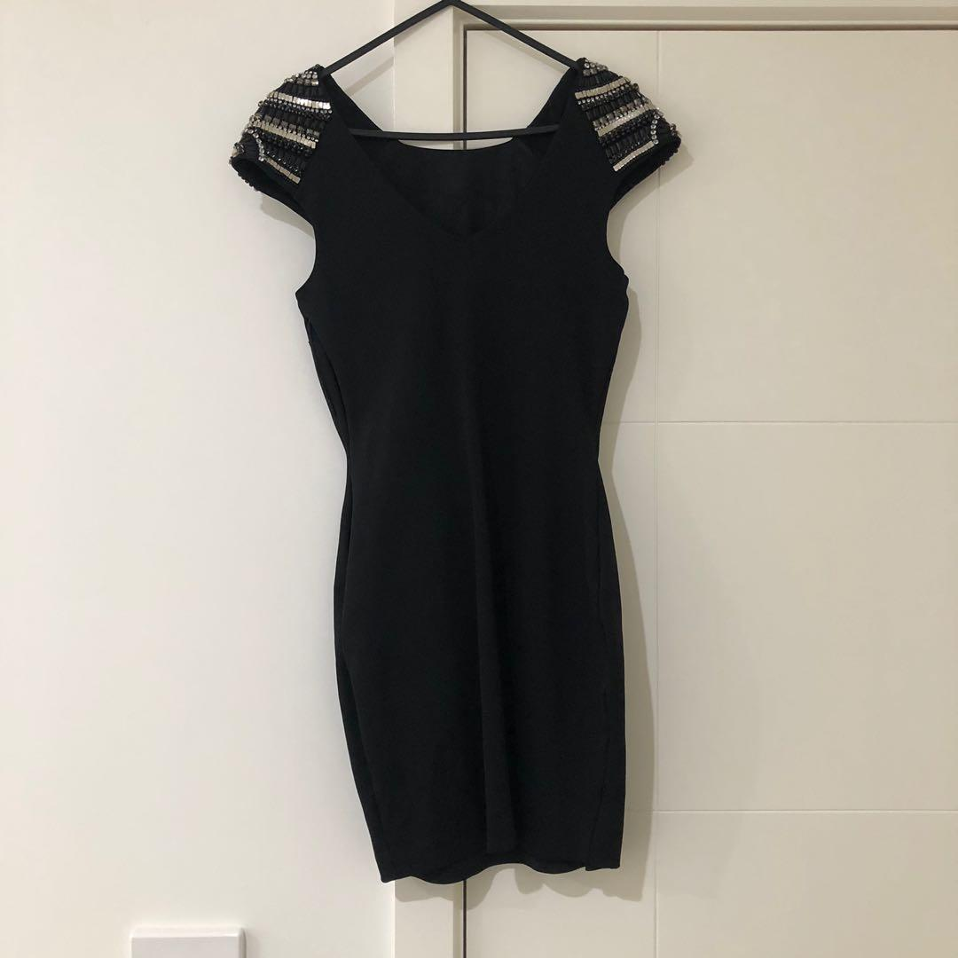 Forever New Black Mini Dress with embellished sleeves