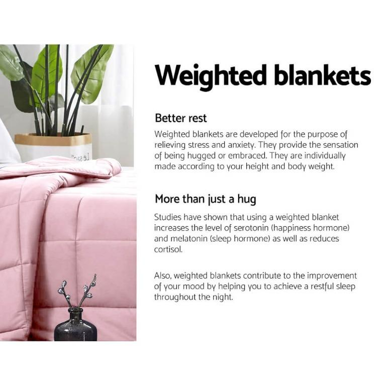 Giselle Weighted Blanket Kids 2.3KG Gravity Blankets Cooling Deep Relax Summer Pink