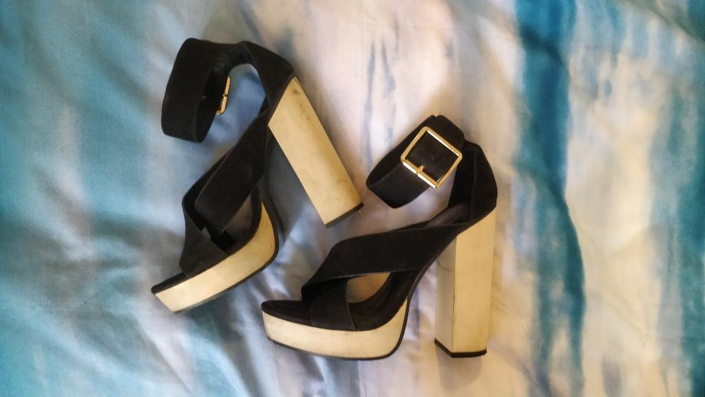 KOOKAI Jennifer Heels Black Wrap Strap Thick Wood Block Heel Windsor Smith