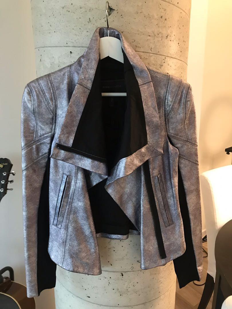 New BCBG MaxAzria Metallic Vegan Leather Jacket Size XS