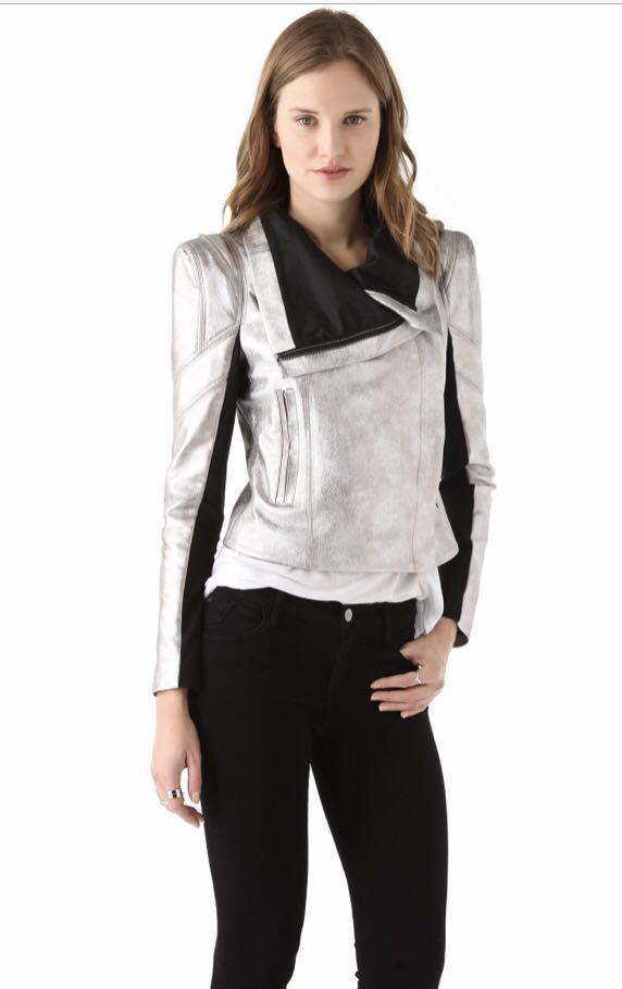 New BCBG MaxAzria Metallic Vegan Leather Jacket Size XS