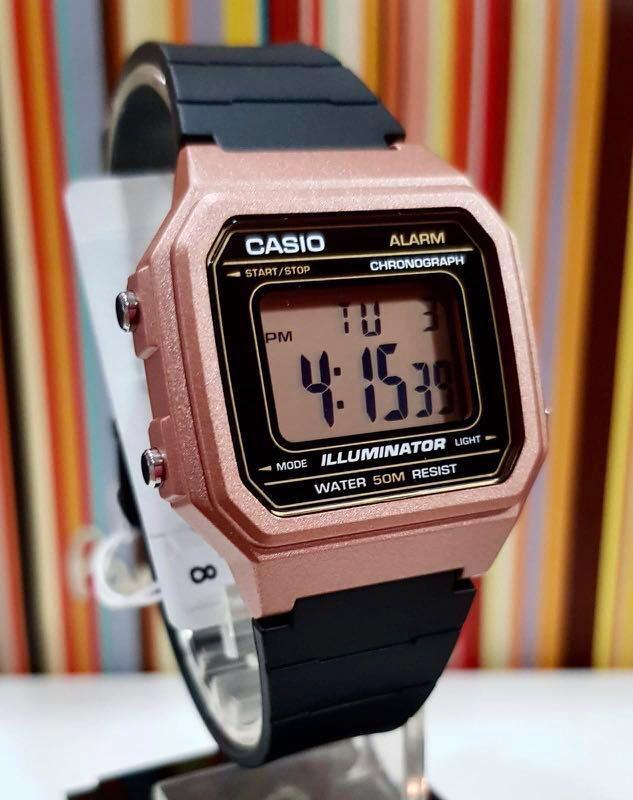 NEW🌟CASIO DIGITAL UNISEX SPORTS WATCH : 100% ORIGINAL AUTHENTIC : By BABY-G-SHOCK ( GSHOCK ) COMPANY : W-217HM-5AVDF (BLACK ROSE-GOLD)