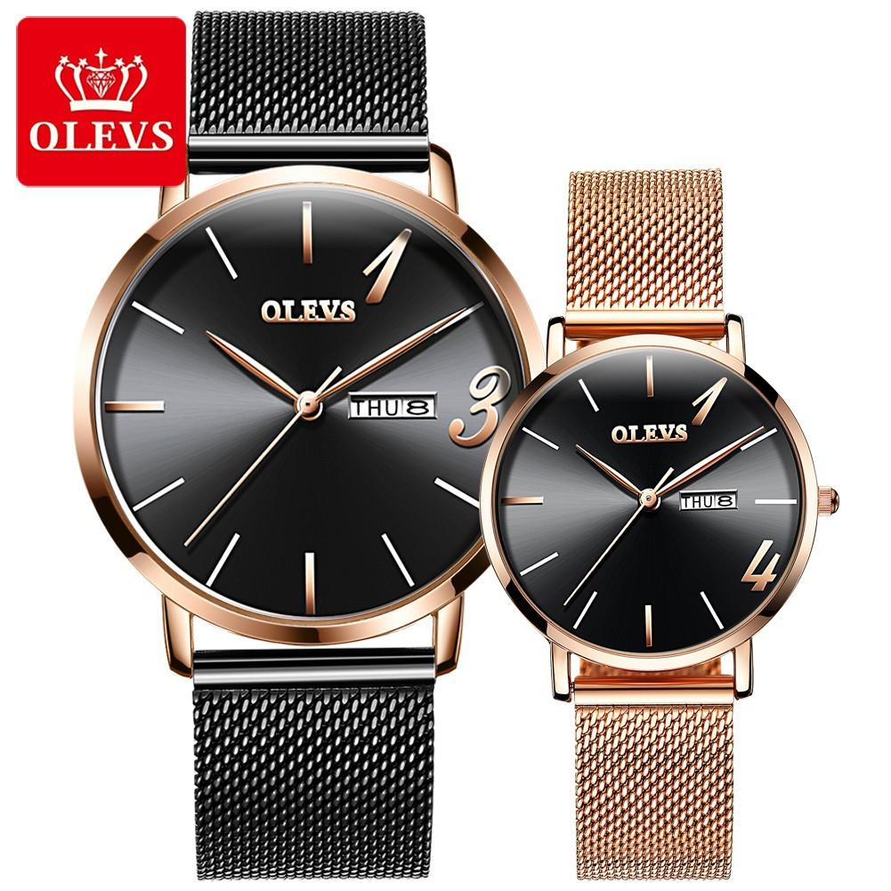 OLEVS Jam Tangan Couple Men's Black Leather Watch Date Fashion Watch Men's Business Watches