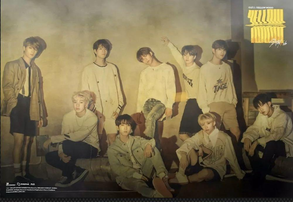 STRAY KIDS CLE : 2 [YELLOW WOOD] OFFICIAL POSTR A + B - Free Standard Untracked Mail Shipping