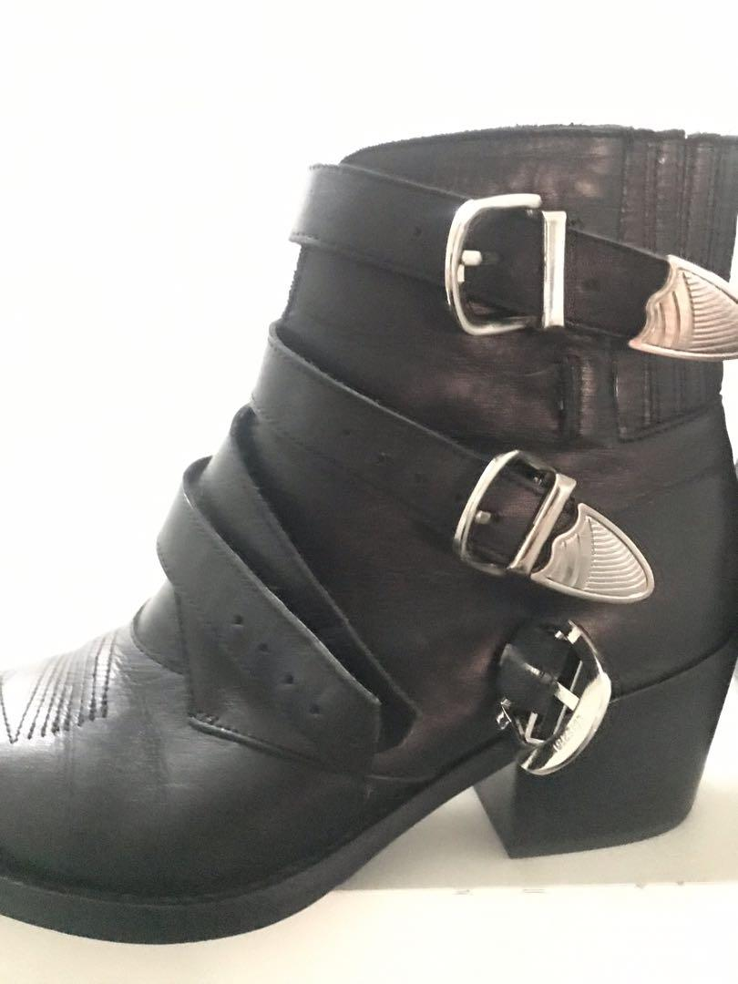 Tony Bianco black leather boots with buckles size 7 festival - reasonable offer accepted
