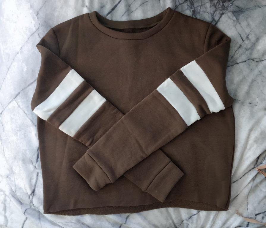 VALLEYGIRL Khaki Crop Jumper Fleece Lined Sports Luxe Stripe Missguided Boohoo