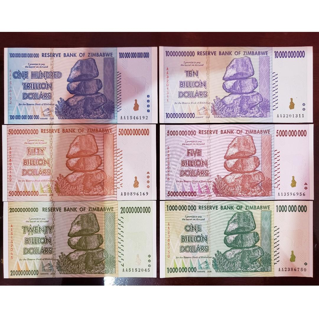 Zimbabwe 100 Trillion Dollars 50 20