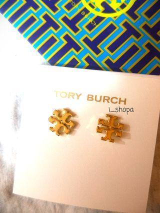 Tory Burch TB 黃銅鍍金色 雙T logo 耳環