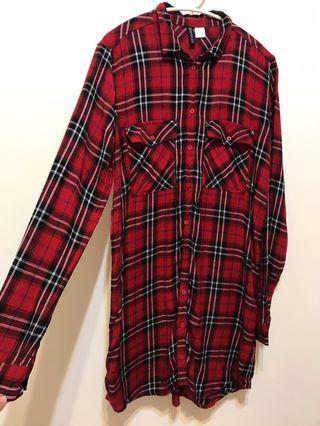 H&M紅色格子襯衫長版上衣