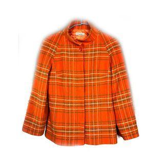 歐洲帶回♨️橘色格紋大衣♨️古著 復古 古着