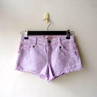 西班牙品牌Bershka淺紫色素面單寧布料休閒短褲32號