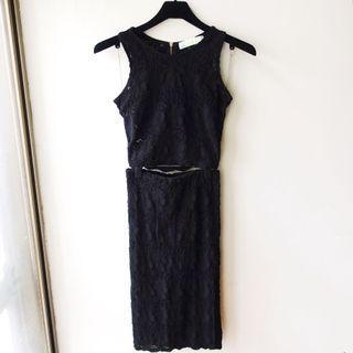 韓國品牌Harju黑色彈性蕾絲圓領背心過膝合臀長裙兩件式小禮服洋裝