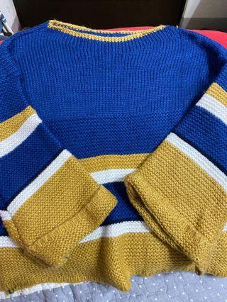 韓國 拼色寬袖針織毛衣