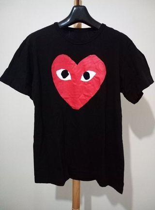 大眼紅愛心 黑色厚棉質上衣短T踢恤 修身窄版 非川久保玲