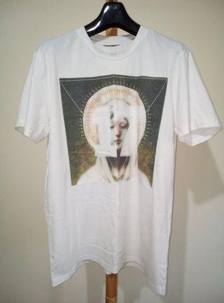 聖母圖像 數字17 SATIN棉質白色上衣短T踢恤 窄版修身 非GIVENCHY紀凡希