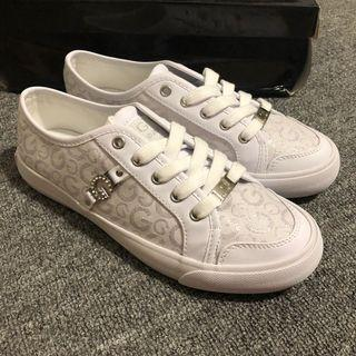 G BY GUESS sneakers 白色Glogo鑽 皮革拼接帆布鞋 US6 #出清2019