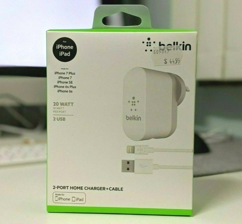 20W Belkin 2-Port USB Home Wall Charger + Lightning USB Cable for Apple iPhone