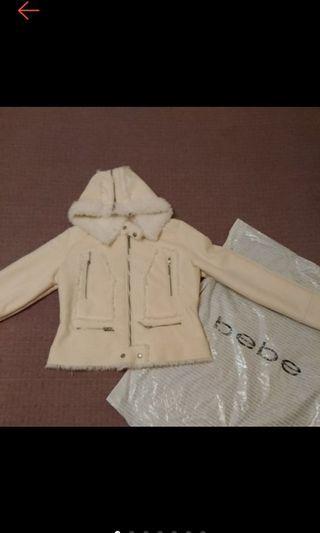 美國帶回 bebe 精品 個性 毛毛 柔軟 麂皮絨 騎士外套 保暖外套 短版外套 近全新