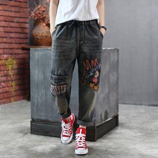 寬鬆文藝刺繡鬆緊腰牛仔褲