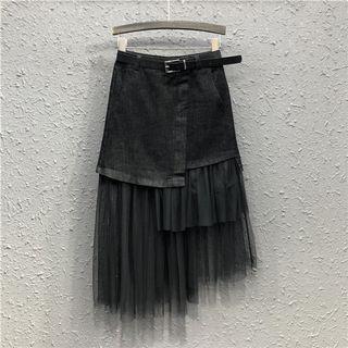 黑色網紗不規則拼接牛仔蛋糕裙