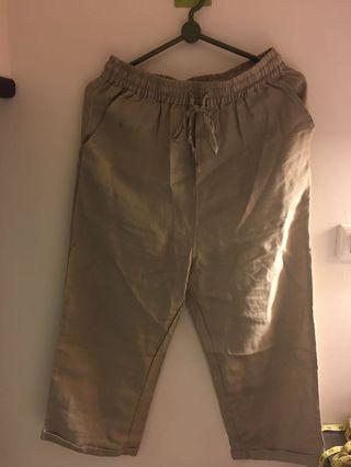 棉麻棕色寬褲