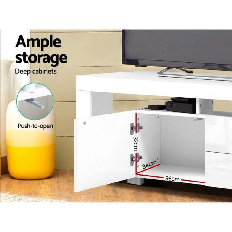 Artiss TV Cabinet Entertainment Unit Stand RGB LED Gloss Furniture 200cm White