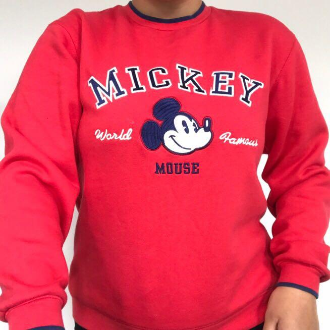 Disneyland Mickey Mouse vintage / retro red and blue crew neck jumper