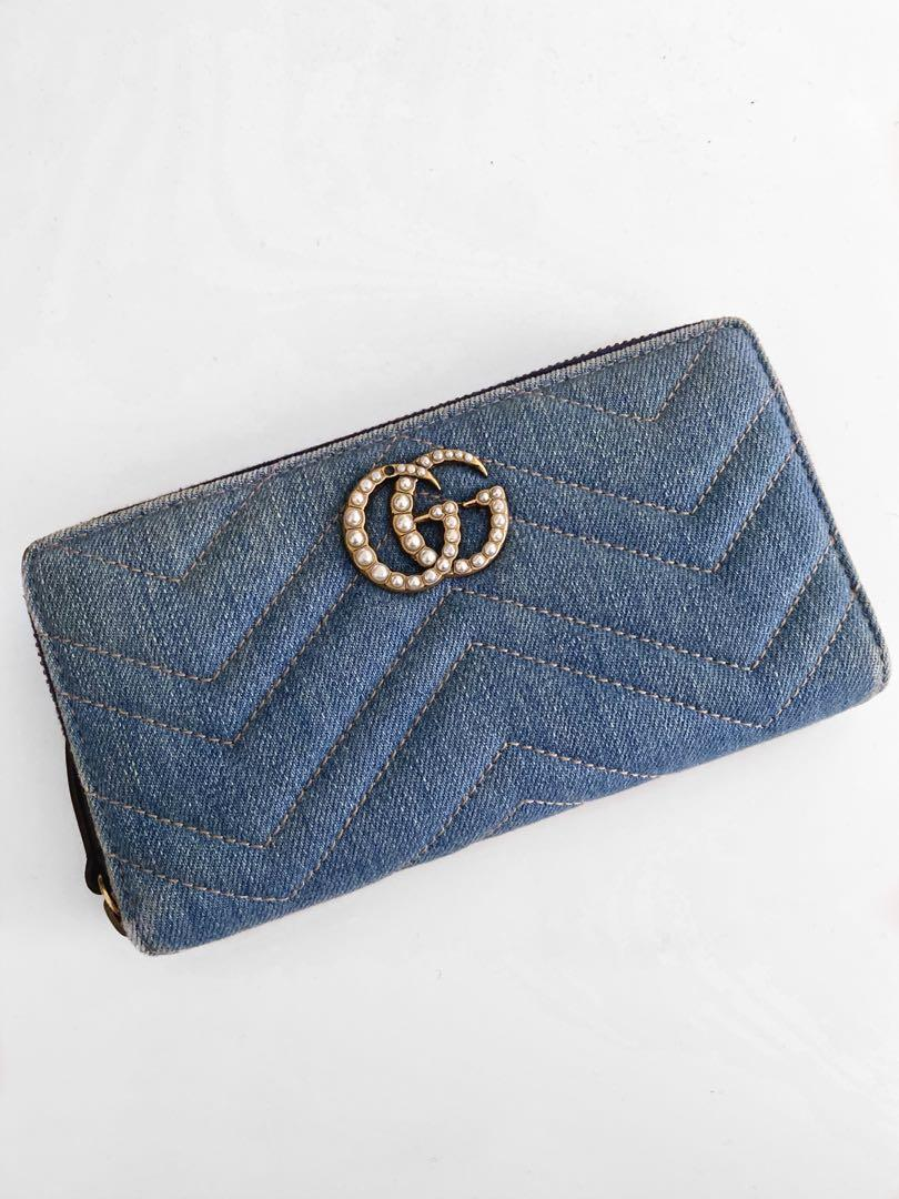 Gucci Limited Edition Pearl GG Marmont Denim Zip Around Wallet