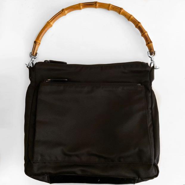Gucci Vintage Bamboo Black Nylon Shoulder Hand Bag