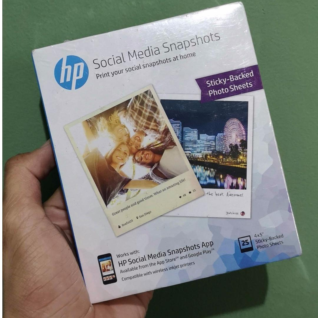 Hp Social Media Snapshots Sticky Backed Photo Sheets Electronics Printers Scanners On Carousell