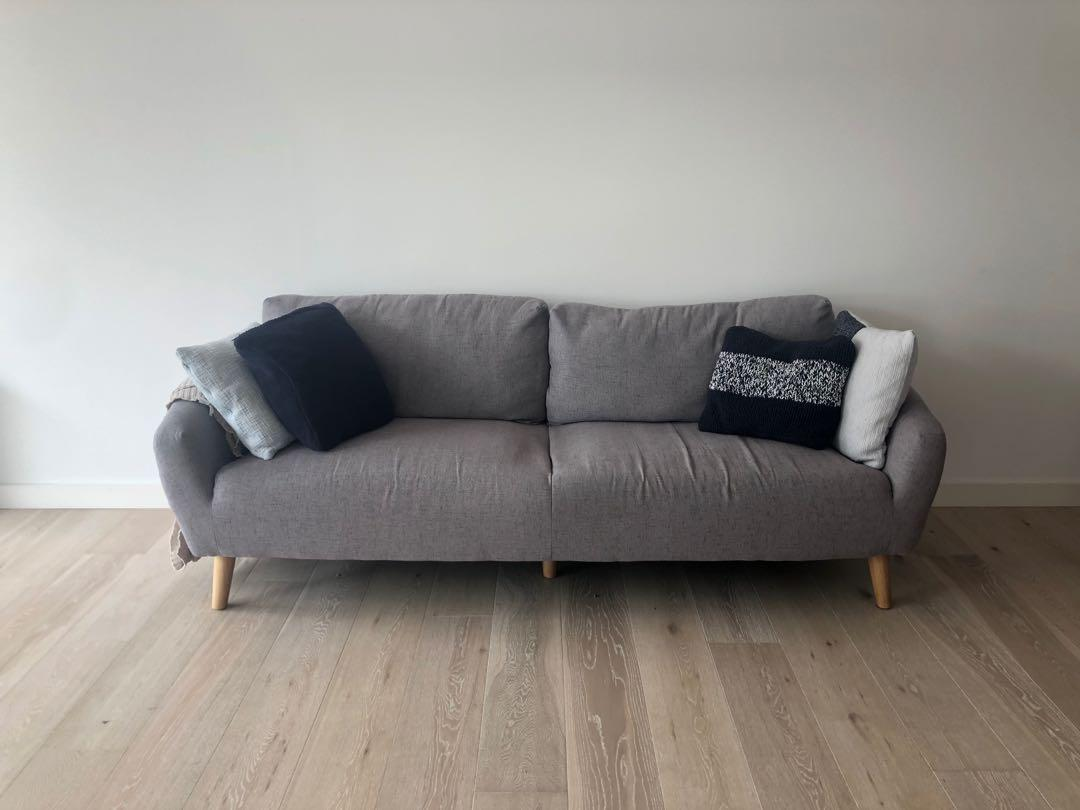 Luxo Living 3 Seater Sofa Grey Scandinavian Design