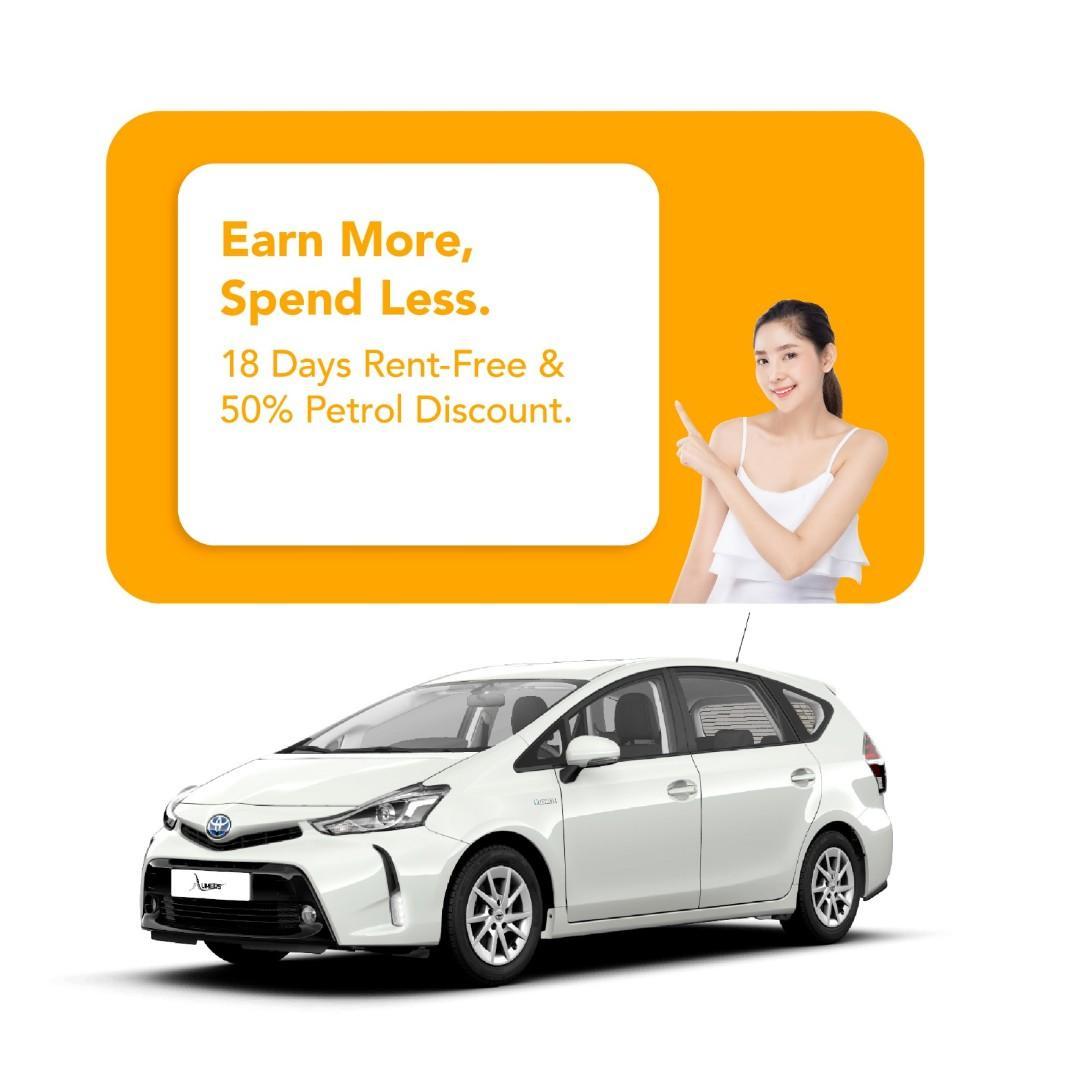 Get 18 Days  FREE rental from us!  (Prius Plus)