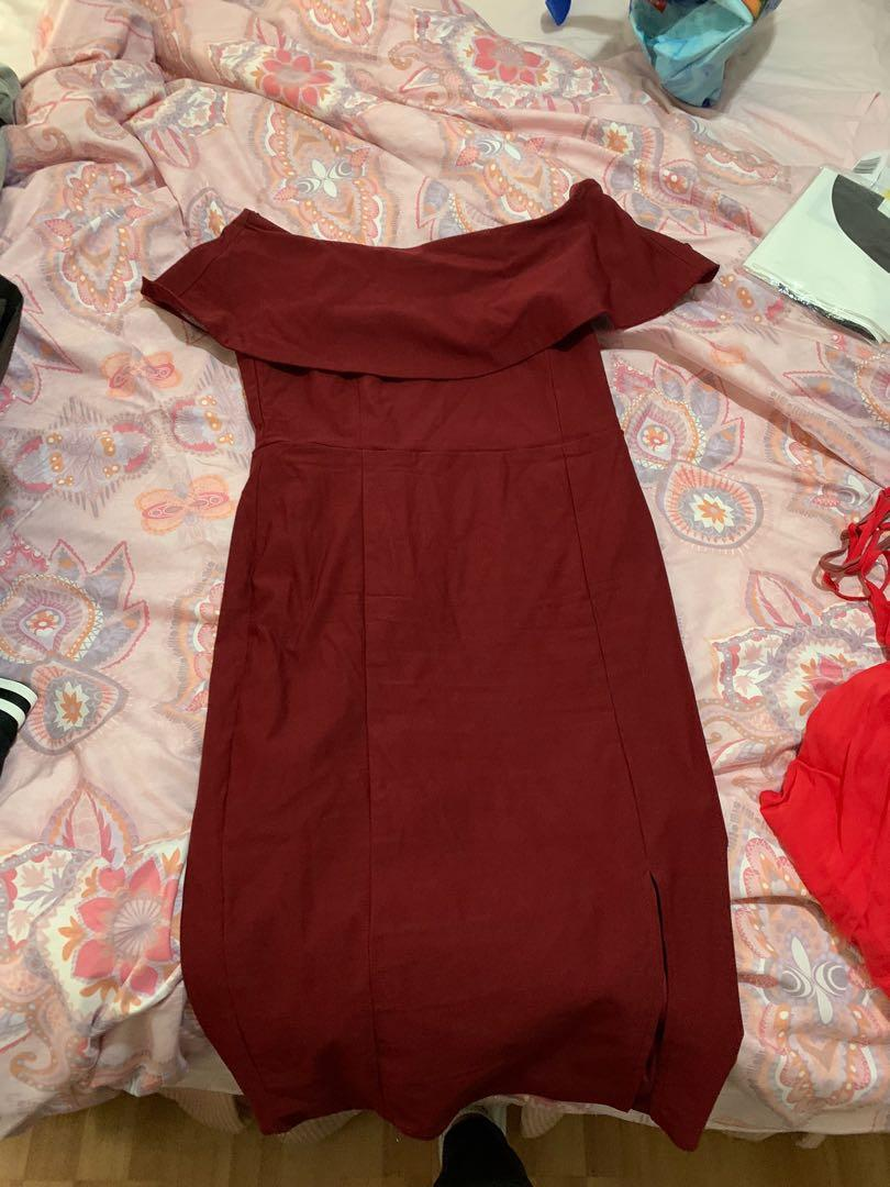 Princess Polly Off Shoulder Slit Burgundy Dress, size 14