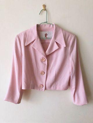 精品2380 西裝 外套 粉紅 小外套 短版 正式 面試 上班 上衣 女生 復古 古著 #出清2019
