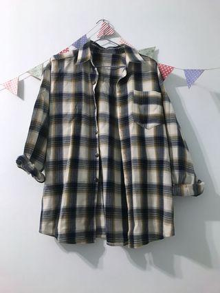 棕藍色格子襯衫外套